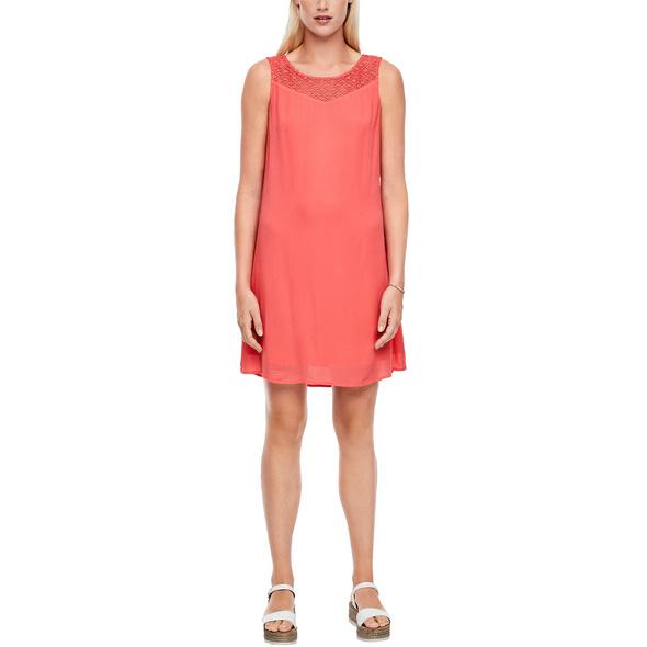 Crêpe-Kleid mit Spitzenpasse - Kleid