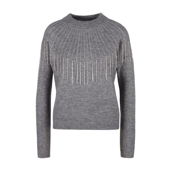 Pullover mit Schmuck-Detail - Strickpullover