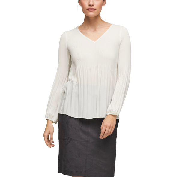 Chiffon-Bluse mit Plisseefalten - Bluse