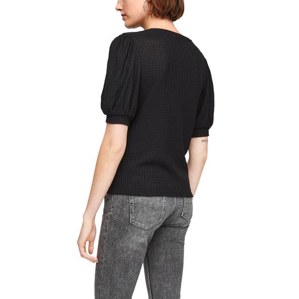 Strukturiertes Shirt mit Puffärmeln - Strukturshirt
