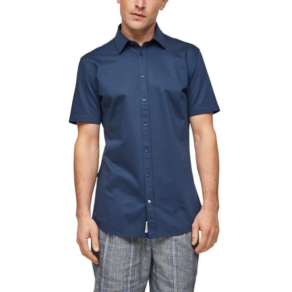 Slim Fit: Hemd aus Jersey-Piqué - Businesshemd