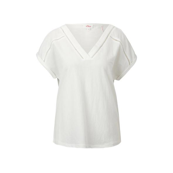 V-Neck-Shirt mit Häkelspitze - T-Shirt