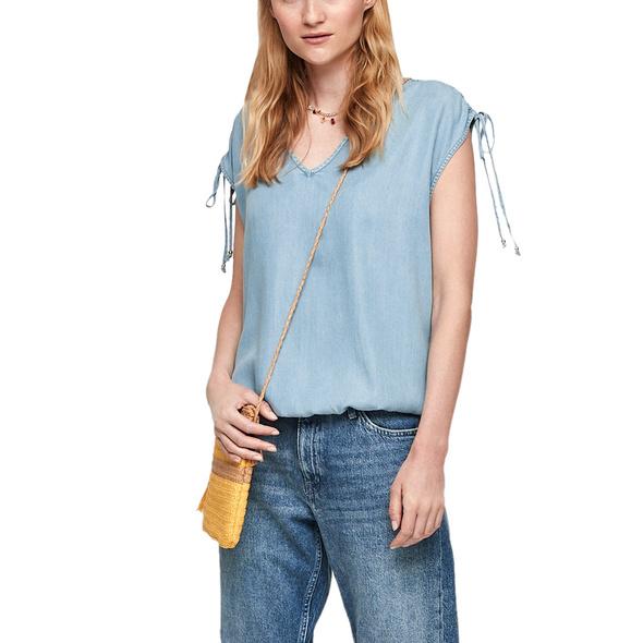 Jeansbluse mit Raffung - Blusentop