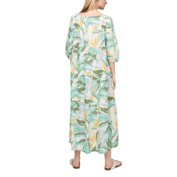 Lockeres Stufenkleid mit Muster - Maxi-Kleid