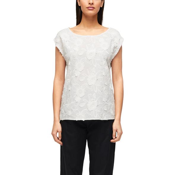 Shirt mit floraler Stickerei - Blusenshirt