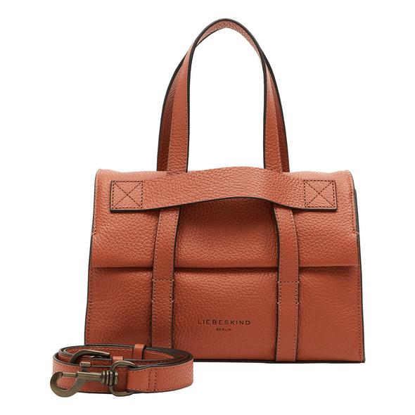 Kompakte Handtasche aus Leder mit dekorativen Riemen - Trudie Satchel M