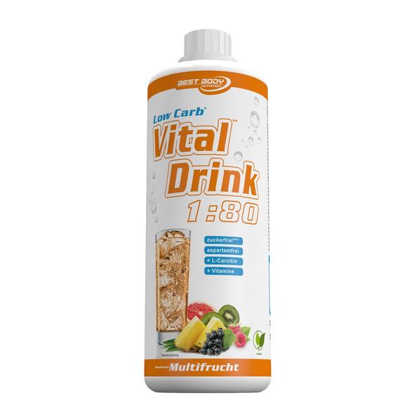 Best Body Nutrition Low Carb Vital Drink 1000ml-Erdbeere-Rhabarber