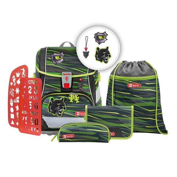 Step by Step Schulranzen-Set 6-tlg. Jungen 2in1 Plus Wild Cat