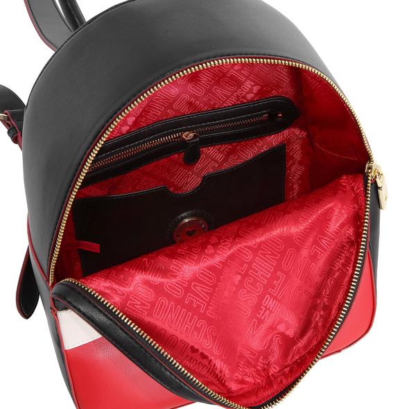 Love Moschino Damen Rucksack JC4229 nero/bianco/rosso
