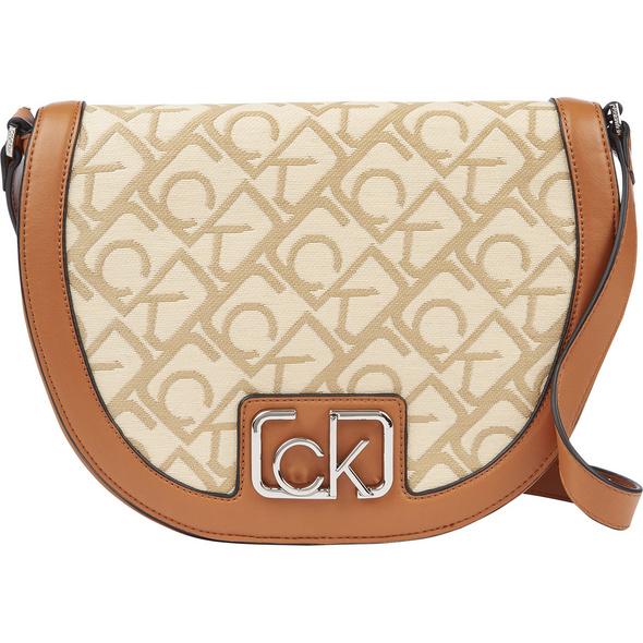Calvin Klein Umhängetasche Saddle Bag S/Raffia JQ cognac/birch monogram