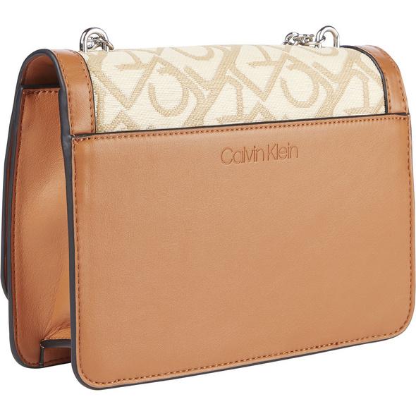 Calvin Klein Umhängetasche Flap Shoulder Bag MD S/Raffia JQ cognac/birch monogram