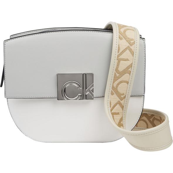 Calvin Klein Umhängetasche Saddle Bag W/Flap JQ Strap offwhite/birch
