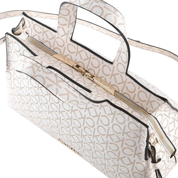 Calvin Klein Kurzgriff Tasche Tote w/Zip MD Monogram offwhite