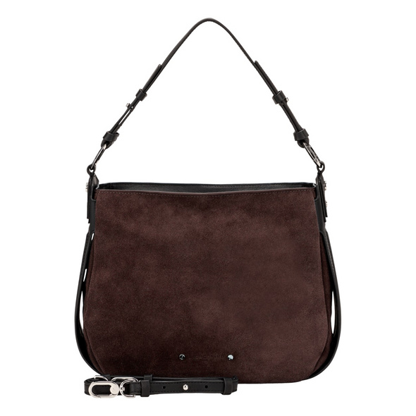 Liebeskind Berlin Beuteltasche Double Pipe Suede Hobo S dark brown