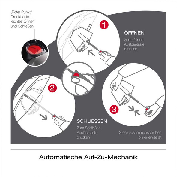 Knirps Taschenschirm T.100 Duomatic dot art red