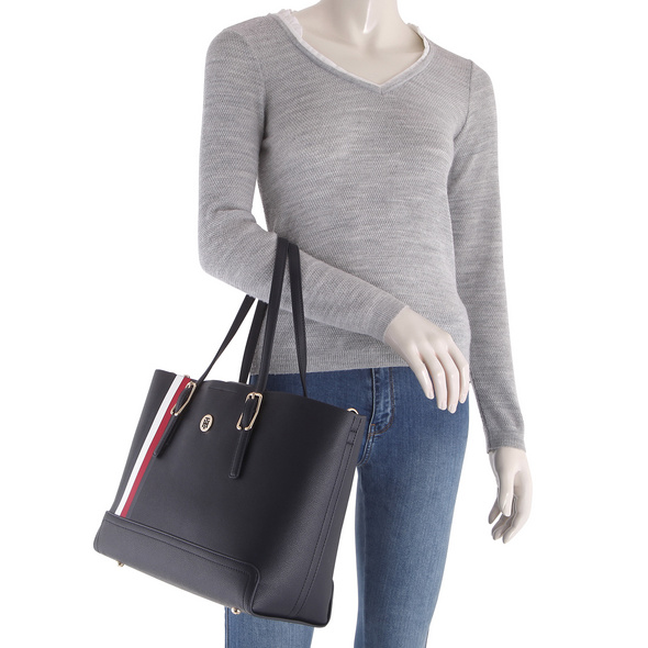 Tommy Hilfiger Shopper Honey Med Tote Corp blue corporate