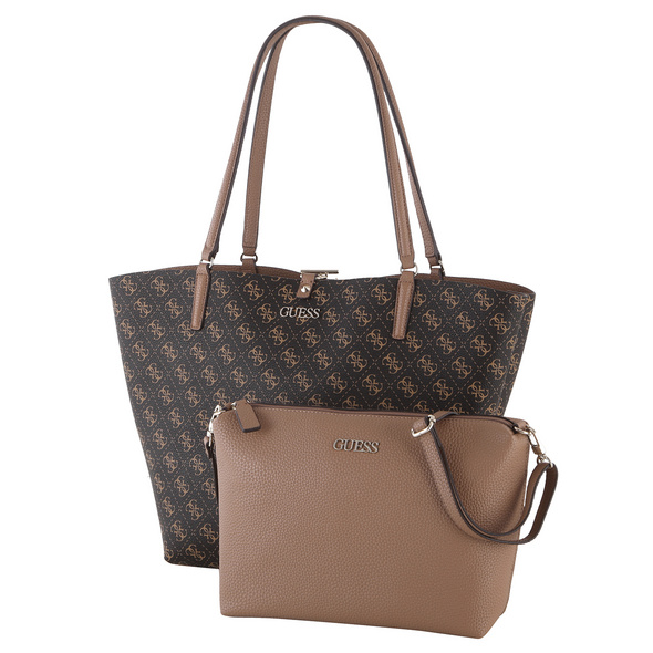 Guess Shopper Alby Toggle Tote Bag in Bag brown logo/mocha
