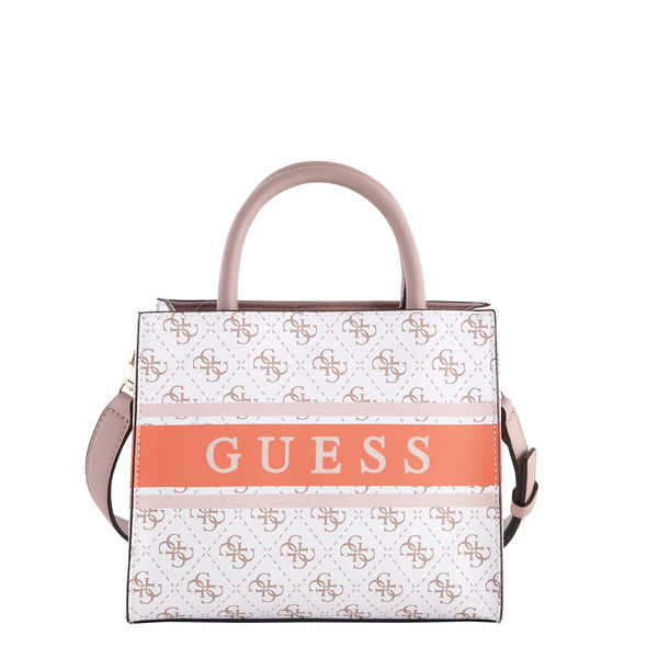 Guess Kurzgriff Tasche Monique Mini white/coral