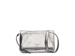 gefaltete Clutch aus Softleder in Metallic - Aloe S