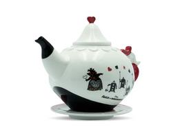 Alice im Wunderland - Herzkönigin Teekanne mit Untertasse