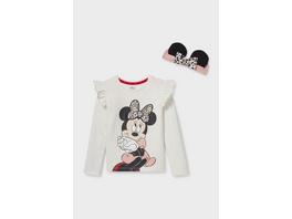 Set - Minnie Maus - Langarmshirt und Haarband - Glanz-Effekt