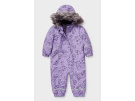 Baby-Schneeanzug mit Kapuze und Kunstfellbesatz - recycelt
