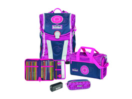 Scout Schulranzenset Sunny Safety Light 4-teilig 18,9l pink mandala
